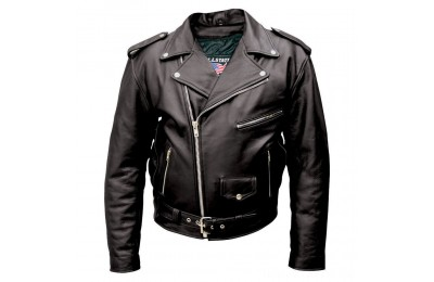 Black Friday Allstate Leather Inc. Men's Black Buffalo Leather Motorcycle Jacket - AL2010-46 ( Sale )