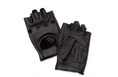 J&P Cycles Fingerless Deerskin Gloves with Easy-Pull Tabs - NG545EZP- SALE